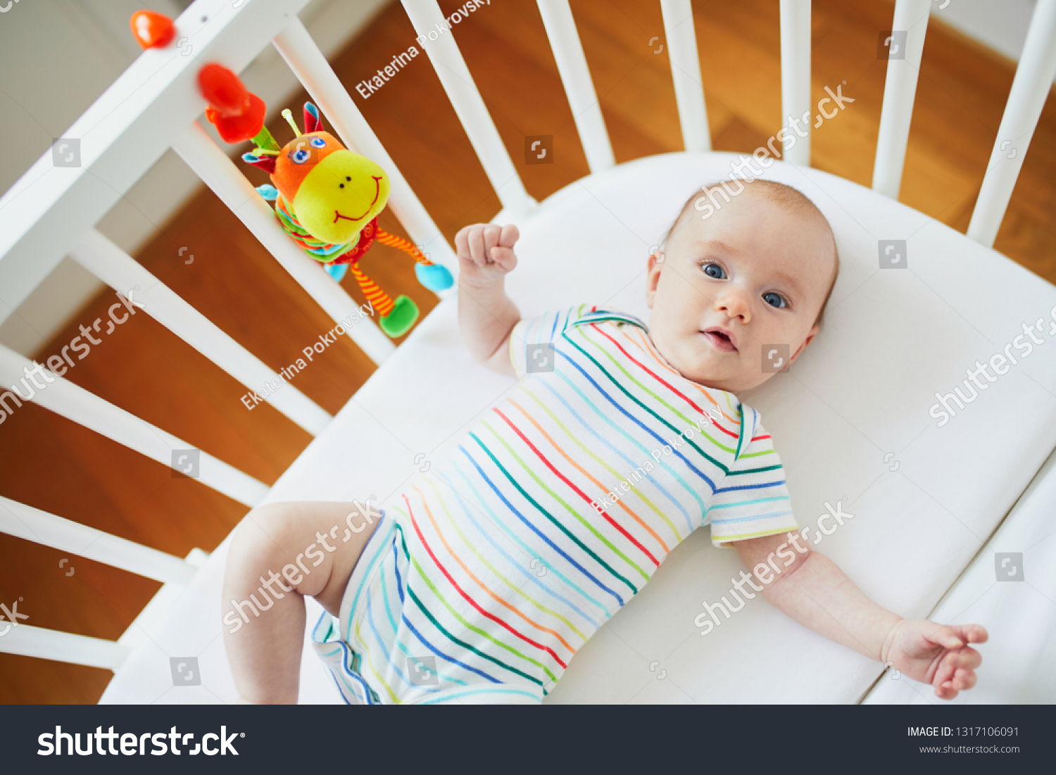 Baby Cots That Attach To Beds Adorable Baby Girl Cosleeper Crib Attached Stock Photo Edit