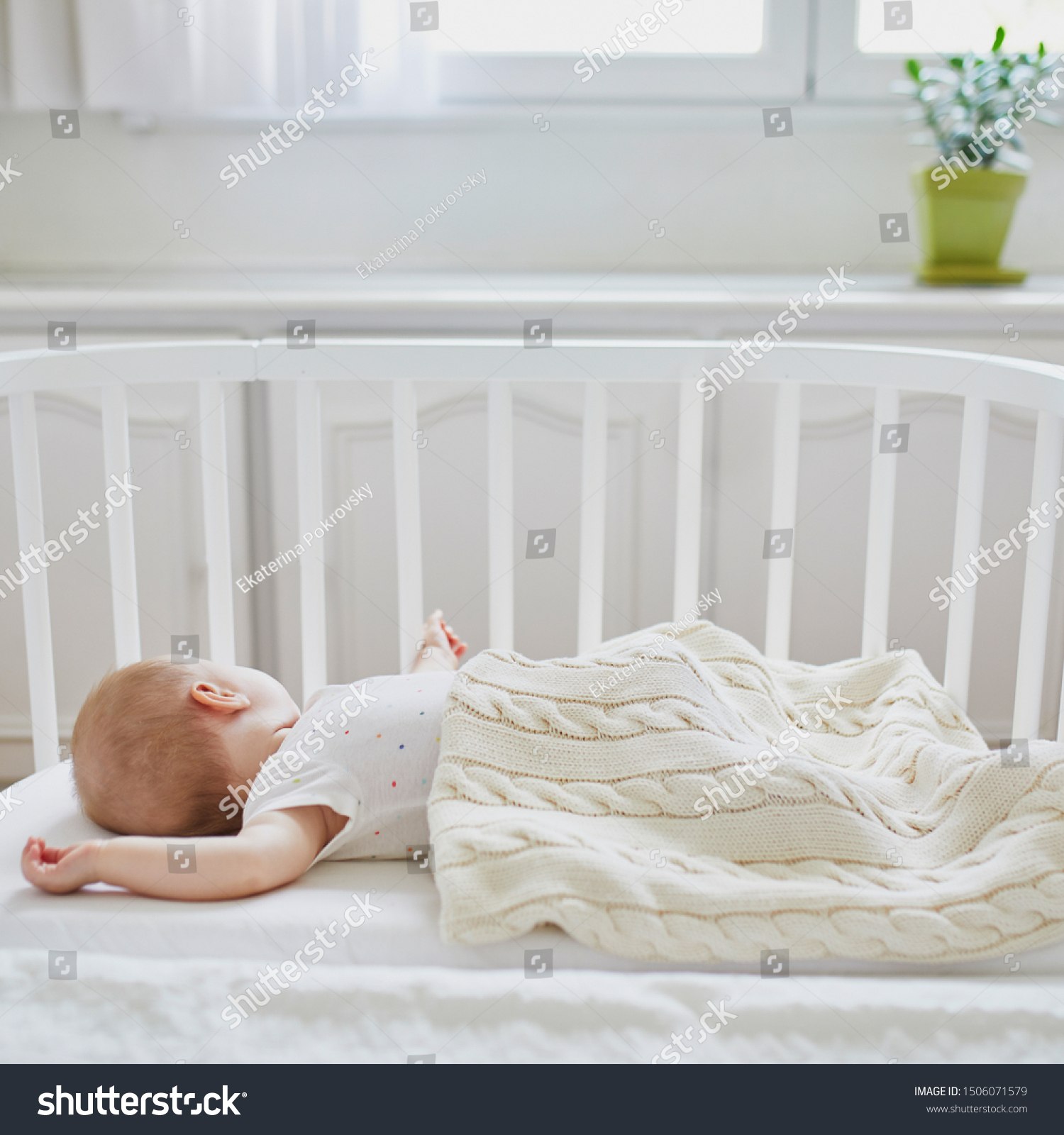 Baby Cots That Attach To Beds Adorable Baby Girl Sleeping Cosleeper Crib Stock Photo Edit