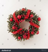 Advent Christmas Wreath For Door Decoration Over White ...