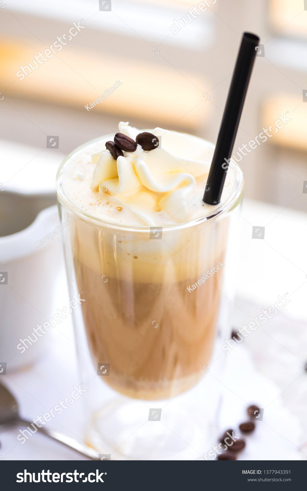 Marmortisch Cafe Affogato Coffee Ice Cream On Cup Stock Photo Edit Now 1377943391