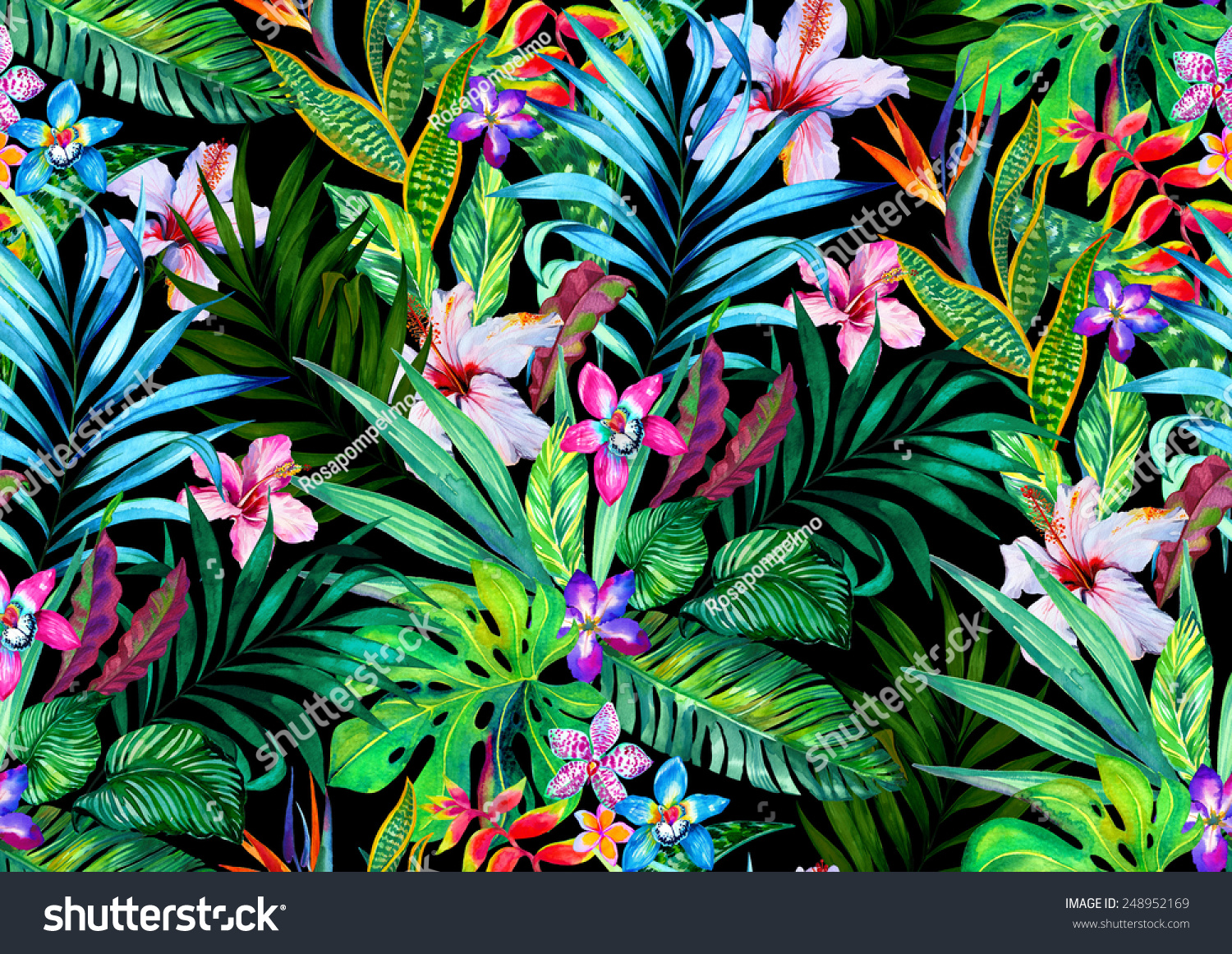 Plante D Intérieur Tropicale Amazing Seamless Tropical Pattern Exotic Hibiscus And