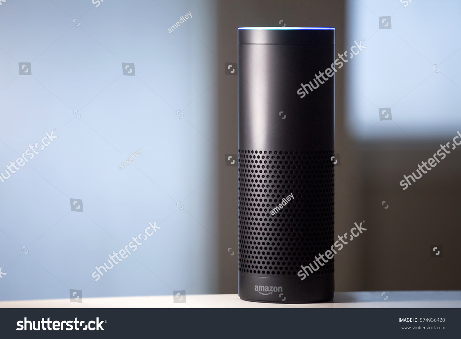Echo Voice Amazon Echo Voice Activated Recognition System Stock Photo