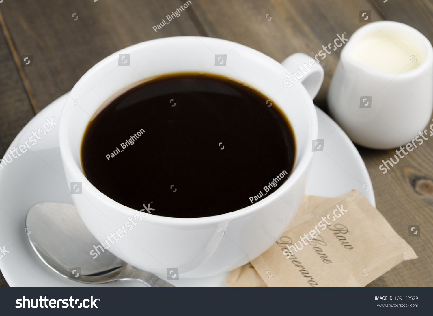 Americano Coffee English Americano Black Coffee White Cup Raw Stock Photo 109132529