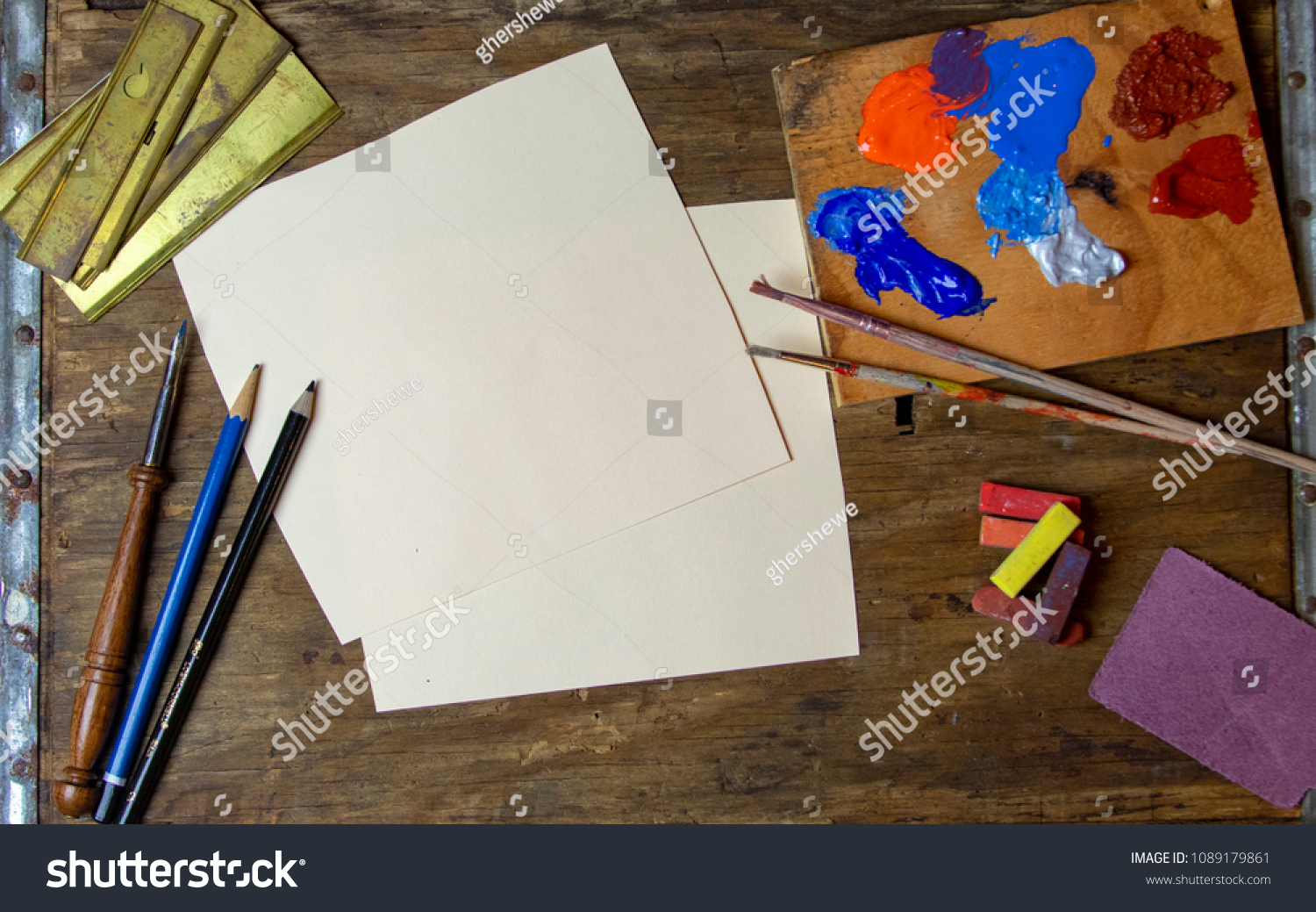 Matching Office Desk Accessories Artists Desk Lots Paint Pencils Pens Stock Photo Edit Now
