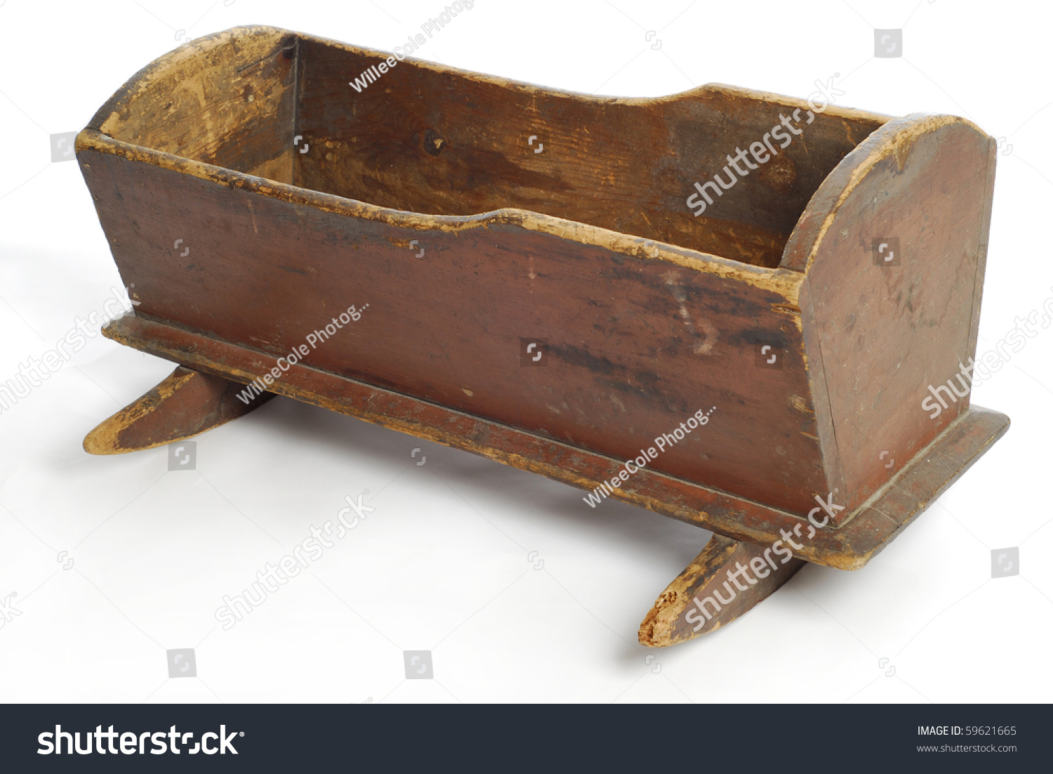 Baby Rocker Bed Antique Baby Crib Rocker Bed Reflection Stock Photo