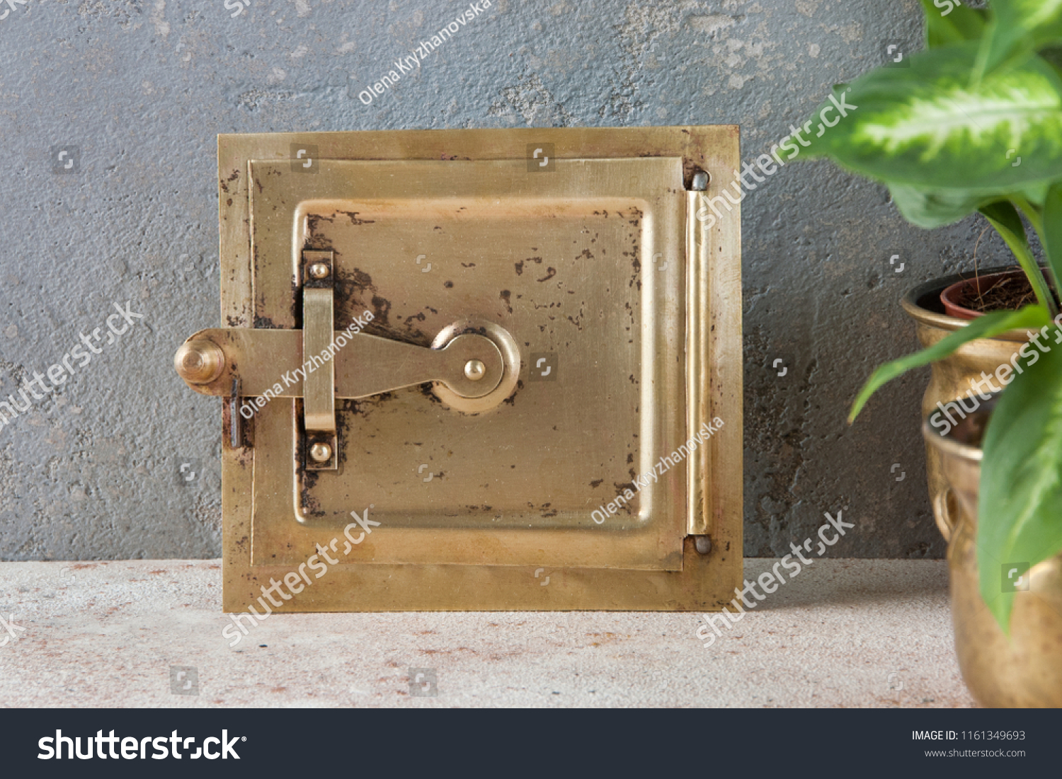 Flapon Antique Brass Chimney Flap On Gray Stock Photo Edit Now