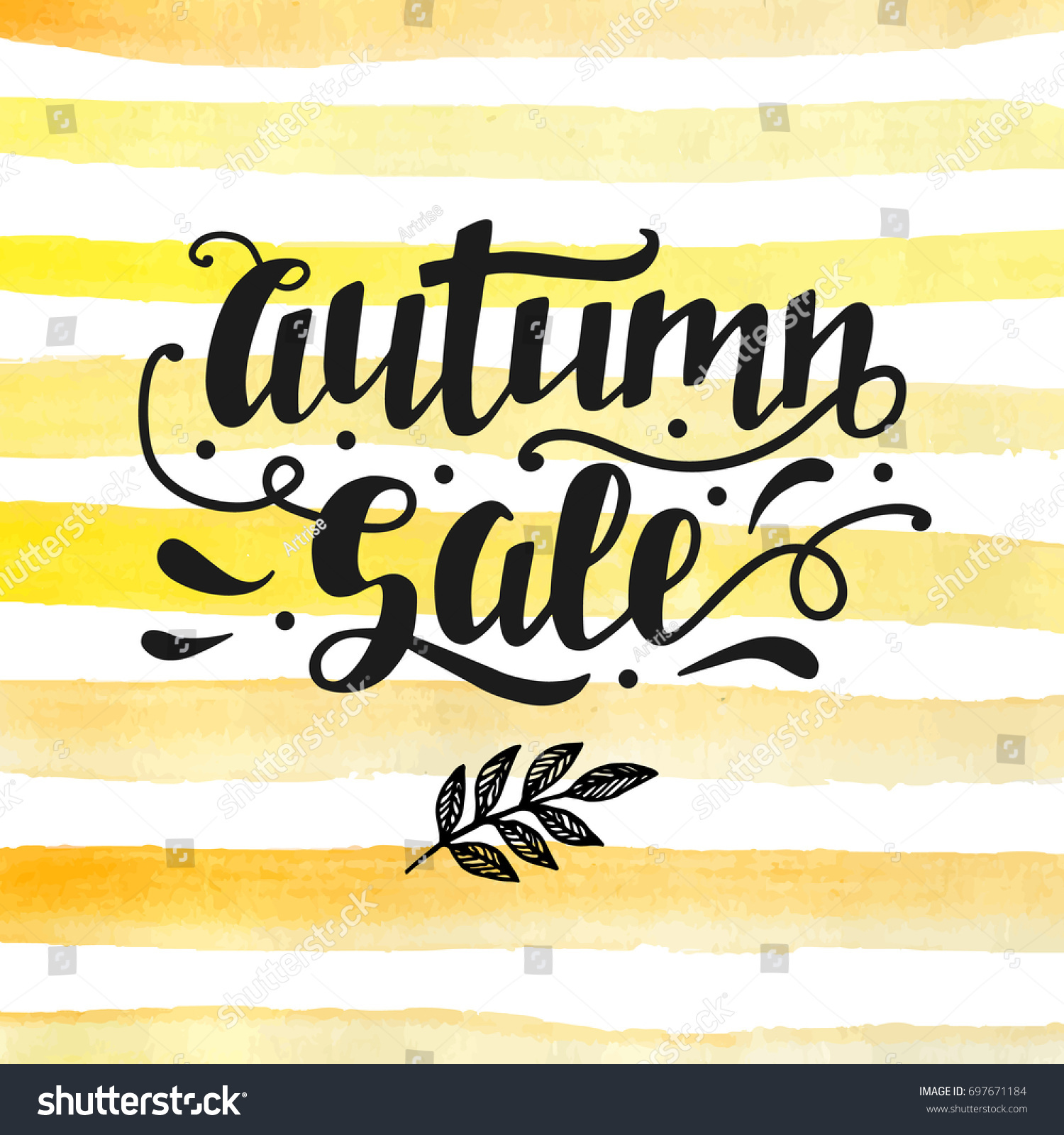 K Modern Calligraphy Autumn Sale Lettering Modern Calligraphy Fall Stock Illustration