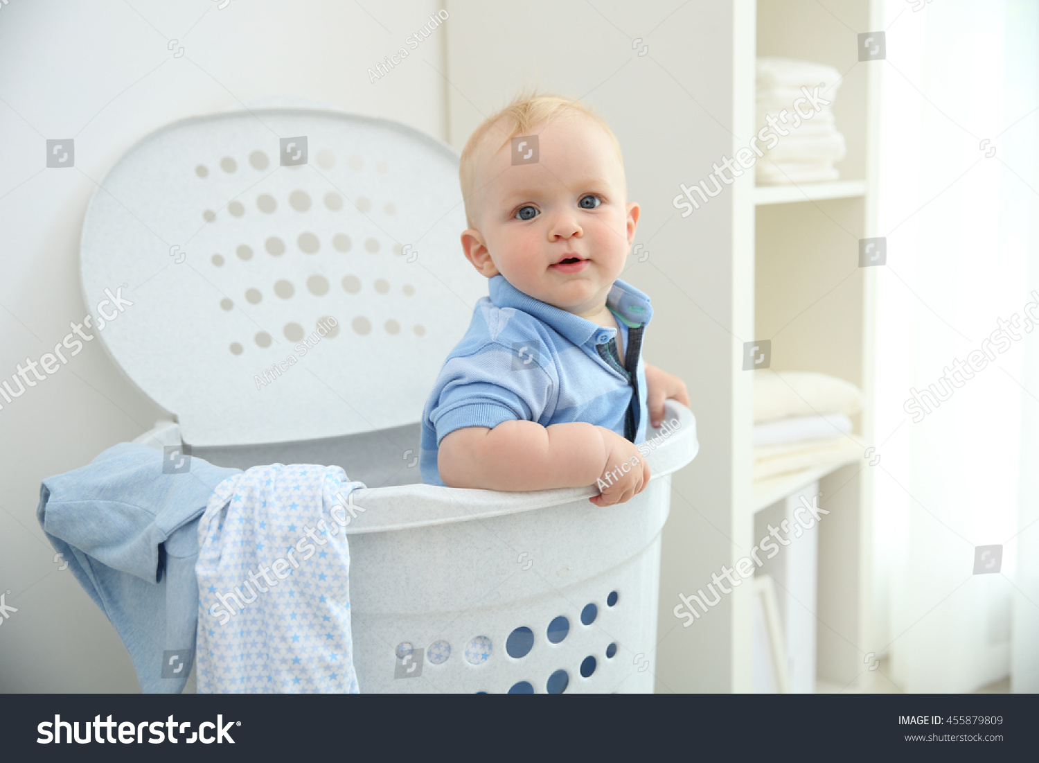 Baby Laundry Bin Baby In Laundry Basket Stock Photo 455879809 Shutterstock