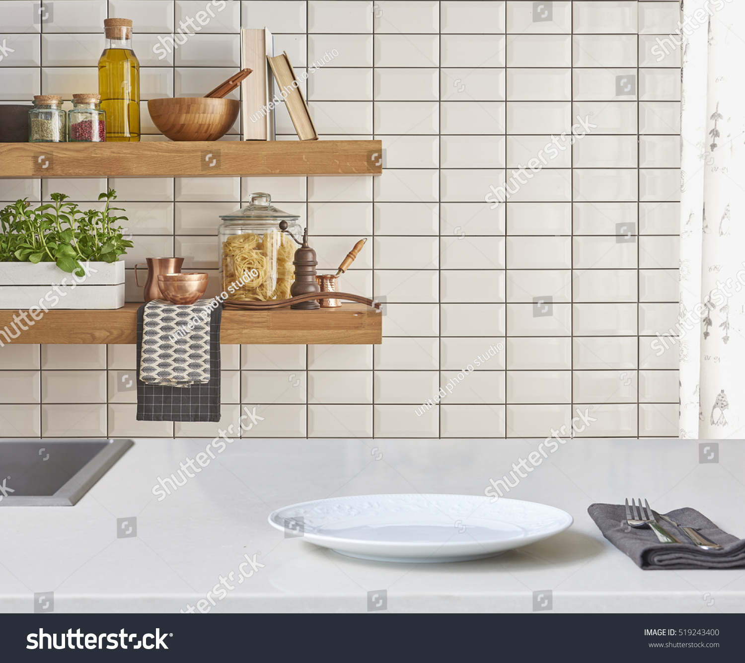 White Tile Kitchen Table Background Modern Tiles Wall White Table Stock Photo