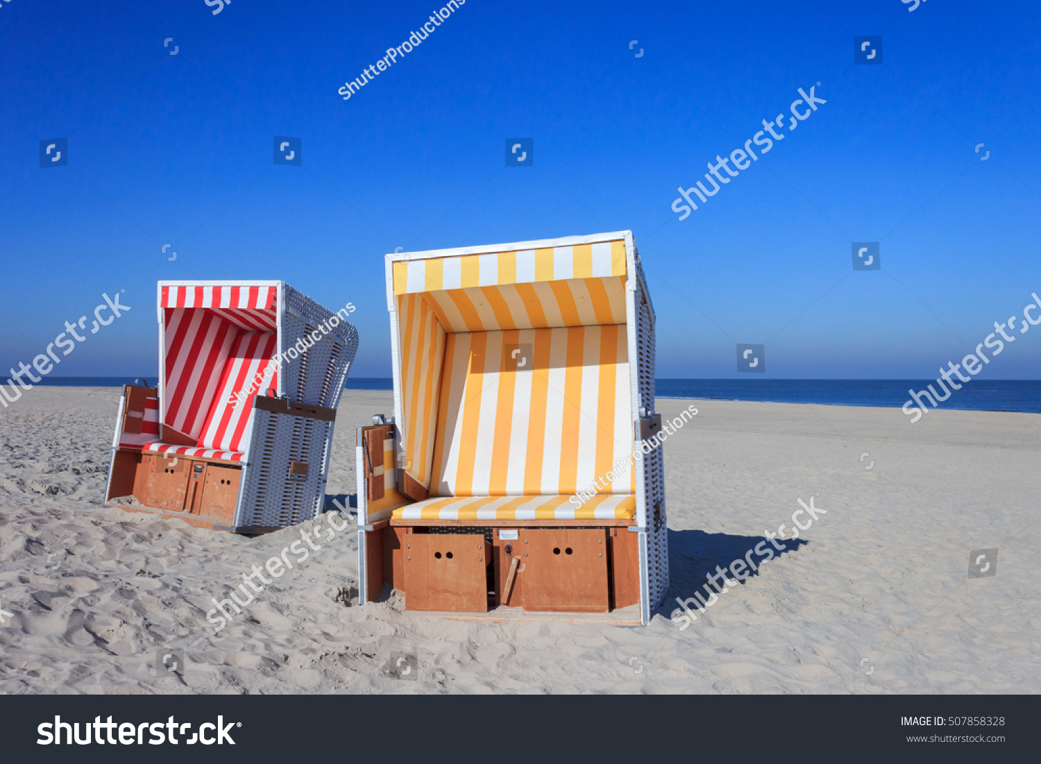 Real Strandkorb Beach Chairs Called Strandkorb German Stock Photo Edit Now