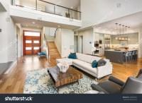 Beautiful Large Living Room Interior Hardwood Stock Photo ...