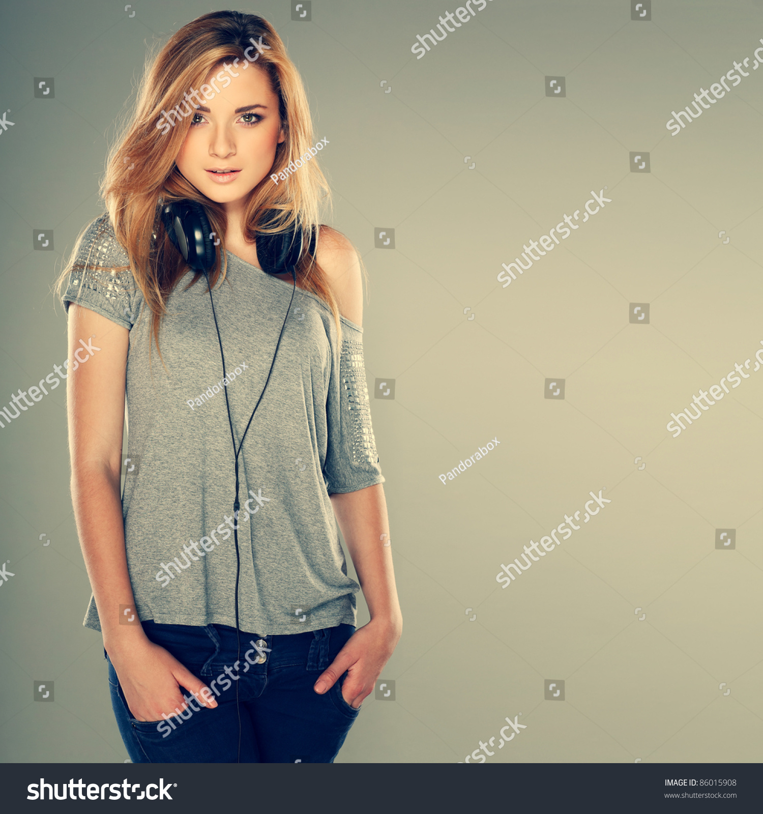 Beautiful Headphones Beautiful Girl Headphones Stock Photo 86015908 Shutterstock