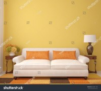 Beautiful Livingroom White Couch Near Empty Stock ...