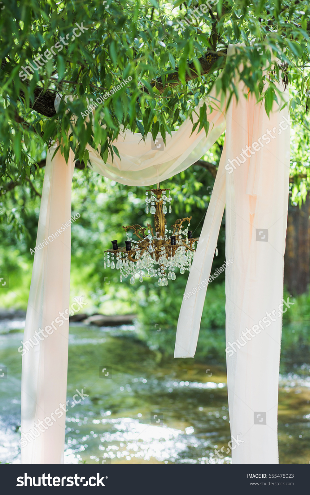 Decor Photobooth Beautiful Luxury Decor Outside Wedding Celebration Stock Photo