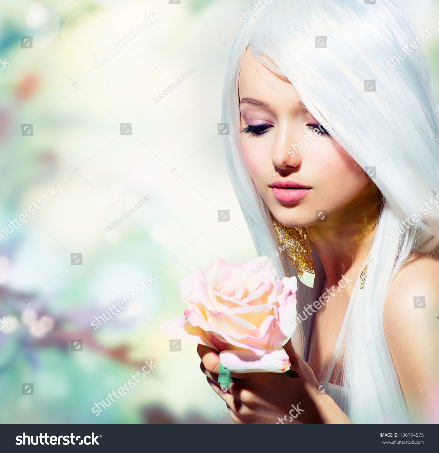 All Anime Characters Wallpaper Beautiful Spring Girl Rose Flower Fantasy Stock Photo