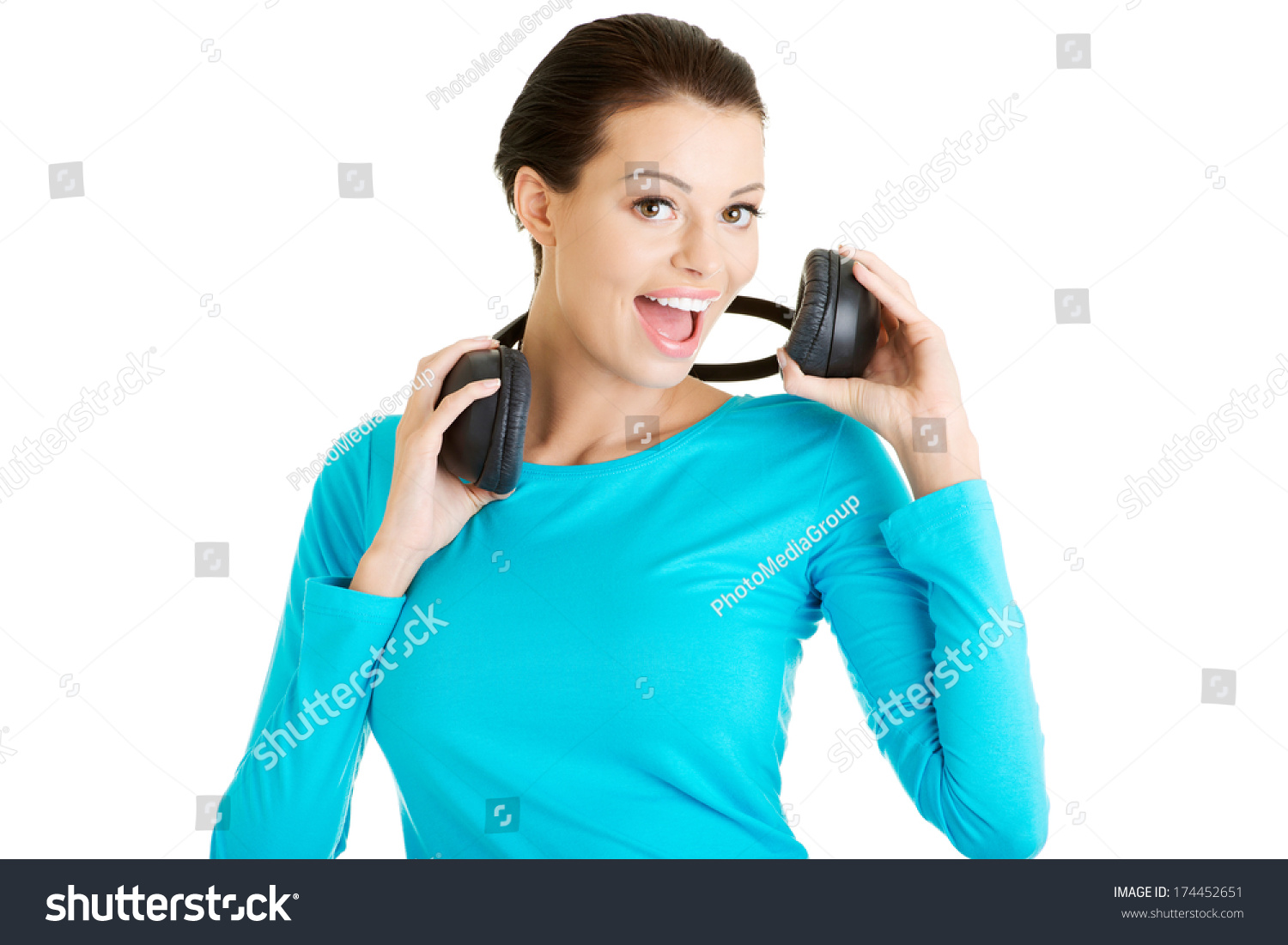 Beautiful Headphones Beautiful Woman Headphones She Listen Music Stock Photo