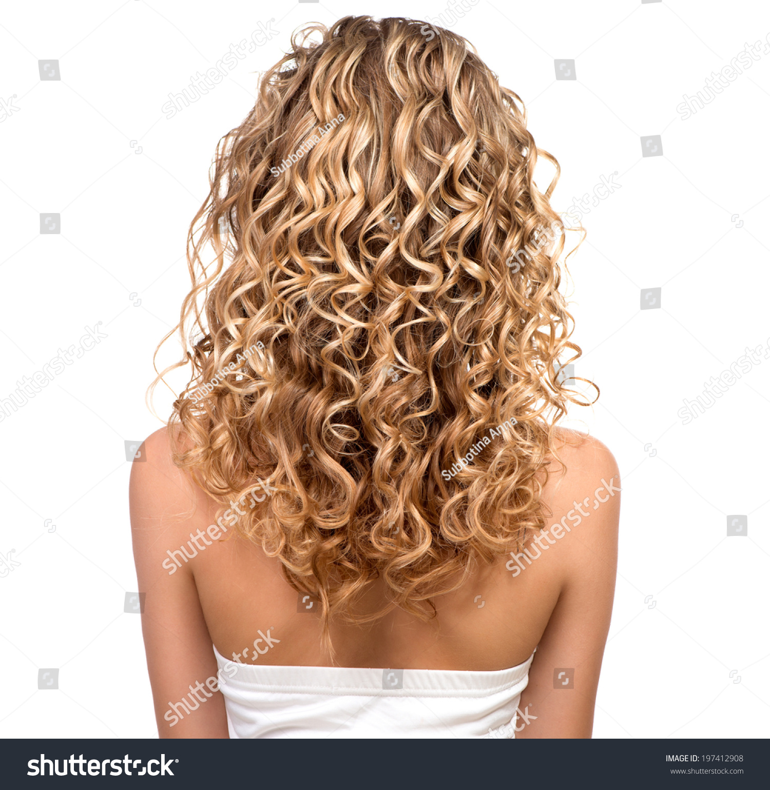 Leichte Wellen Mit Glätteisen Kurze Haare Beauty Girl Blonde Curly Hair Healthy Stock Photo