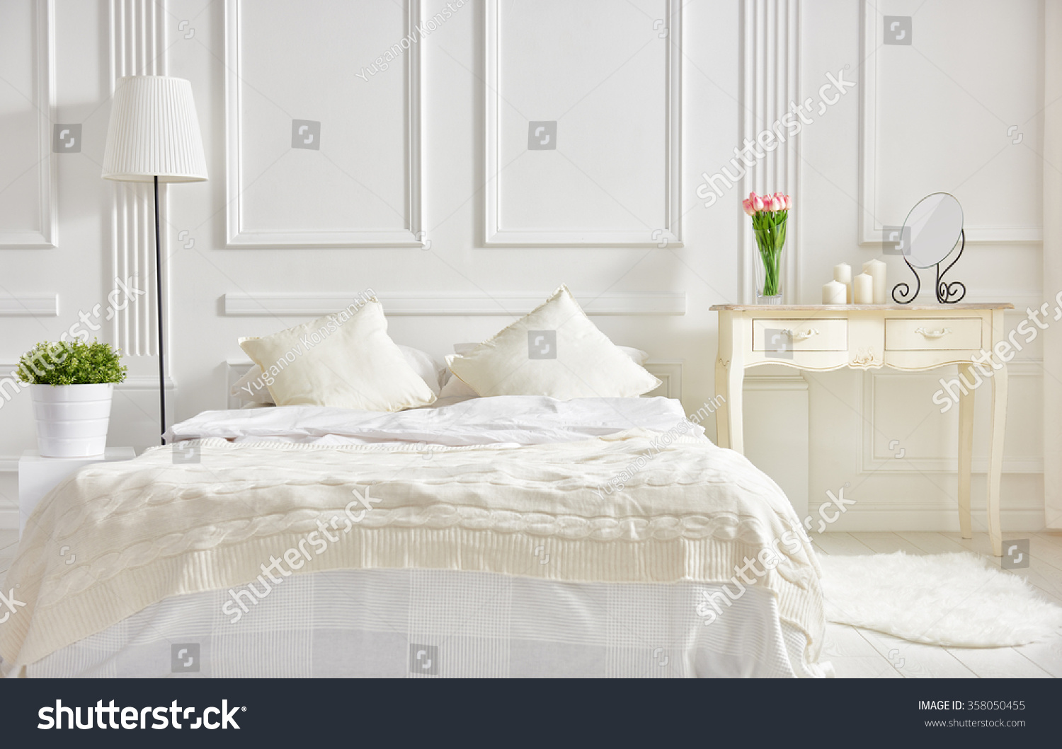 Classic Bedroom Colors Bedroom In Soft Light Colors Big Comfortable Double Bed