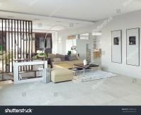 Big Comfortable Living Room3d Design Concept Stock ...