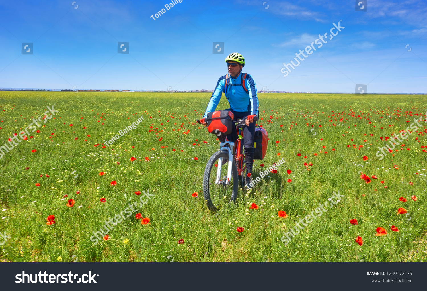 Camino Frances On Bike Biker By Camino De Santiago Bicycle Stock Photo Edit Now