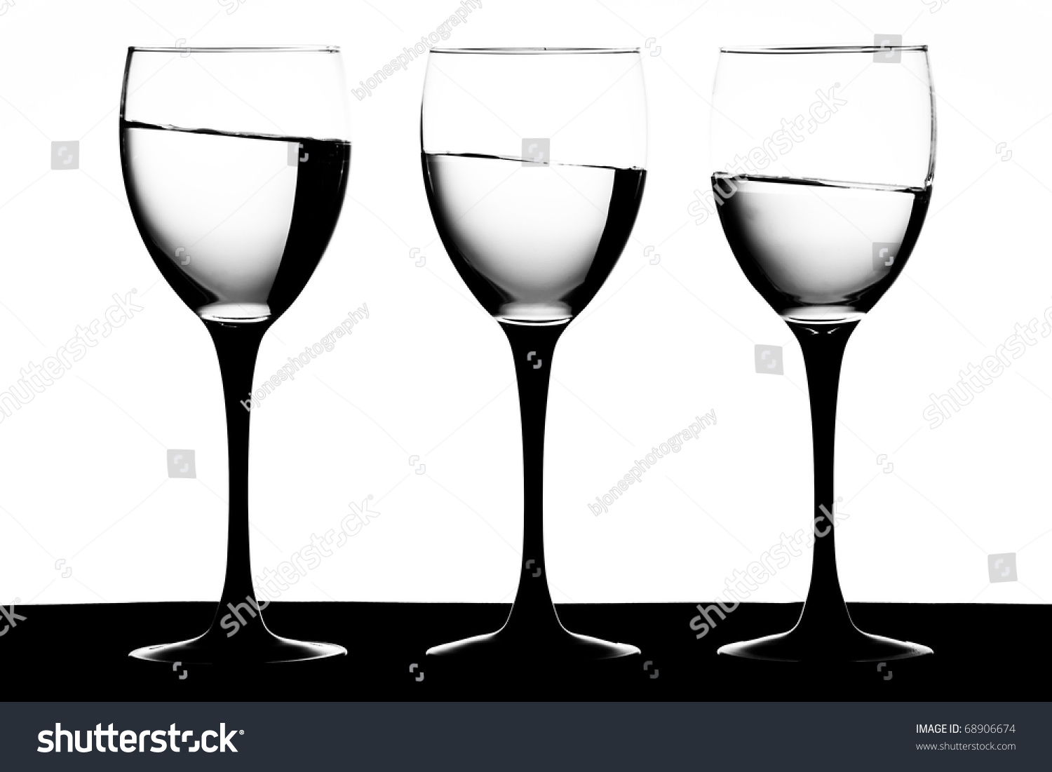 Wine Glasses With Black Stems Black And White Image Of Black Stemmed Wine Glasses With