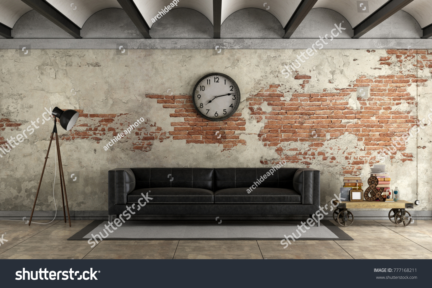 Brick Meubles Divan Lit Black Sofa Grunge Room Old Brick Stock Illustration Royalty Free