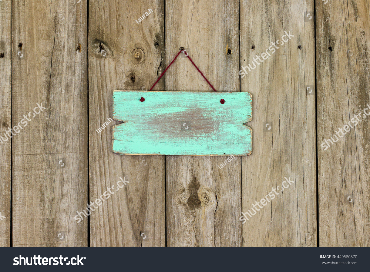 Blank Mint Green Wooden Sign Hanging Stock Photo Edit Now 440680870