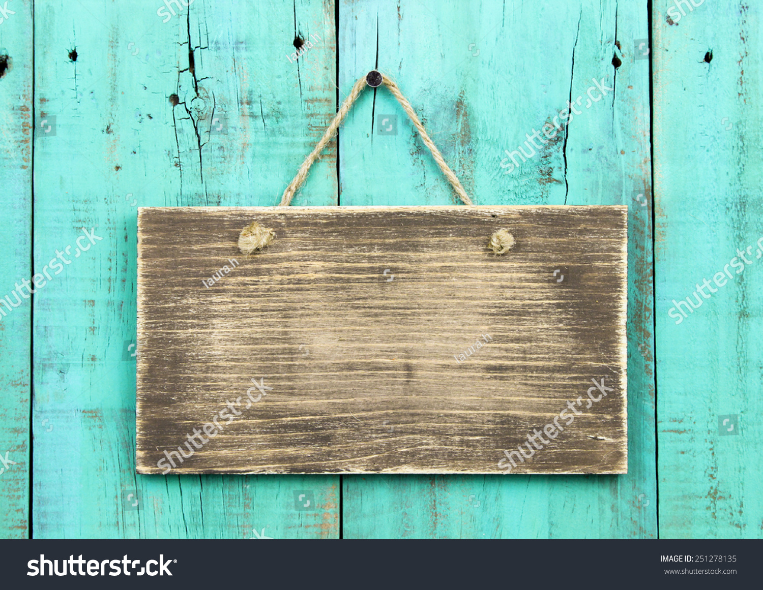 Blank Rustic Wooden Sign Hanging On Stock Photo Edit Now 251278135