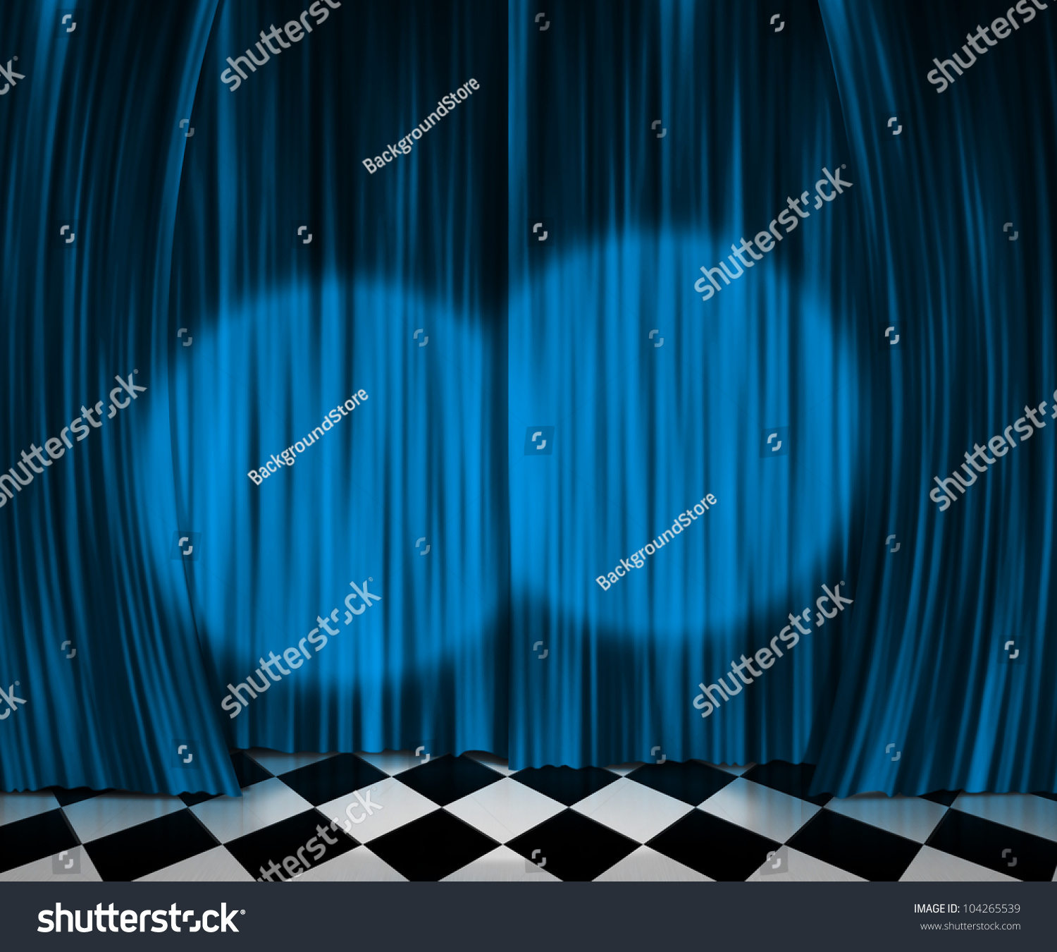 Bl blue stage curtains background -  Blue Curtain Spotlight Stage Background Download