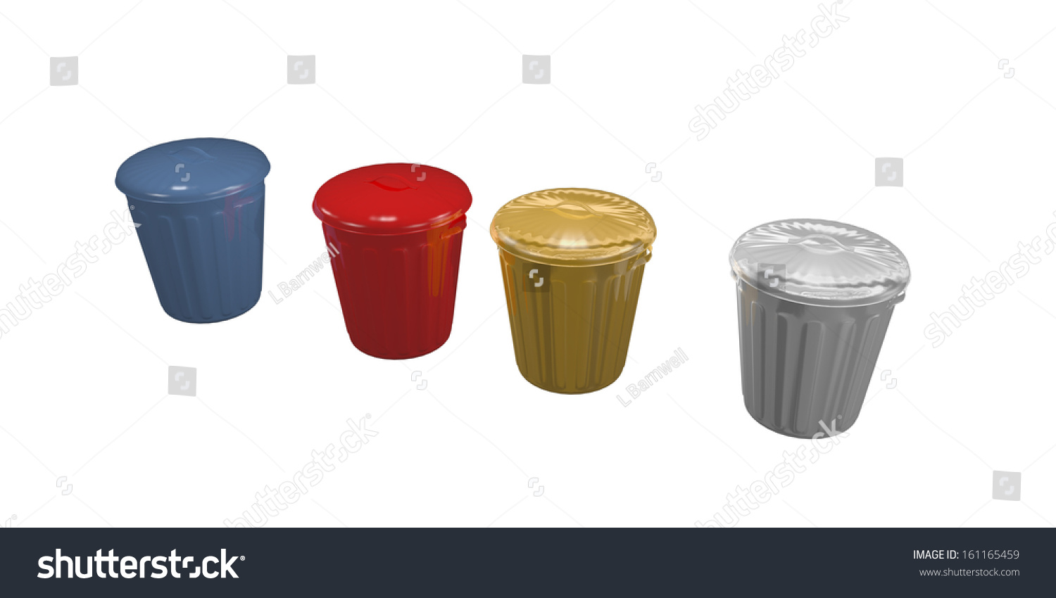 Silver Trash Cans Blue Red Gold And Silver Trash Cans Stock Photo