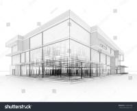 Blueprint Design Modern Office Building Architects Stock ...