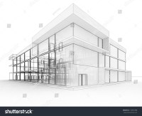 Blueprint Design Of Modern Office Building. Architects And ...
