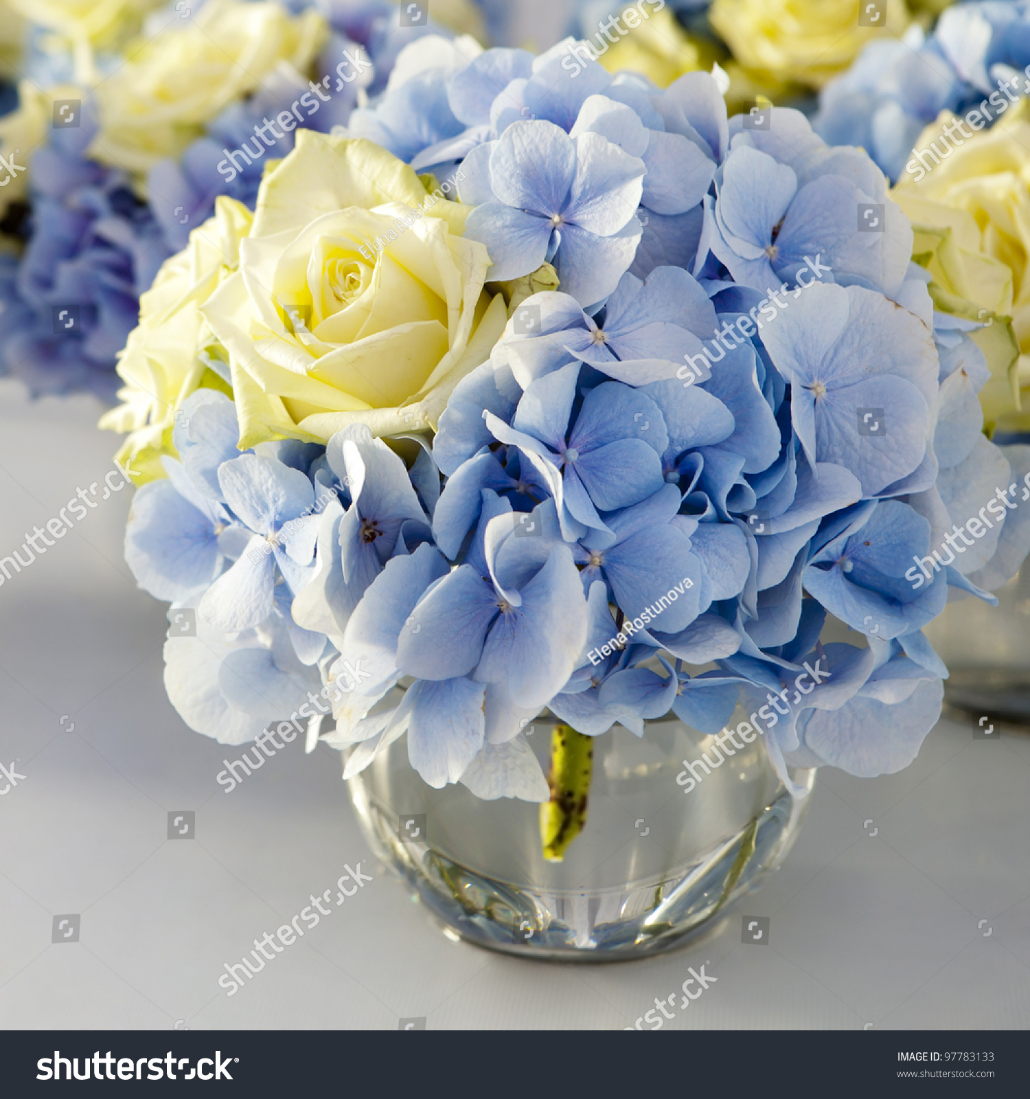 Blaue Tischdeko Bouquet White Blue Flower Vase Glass Stock Photo 97783133