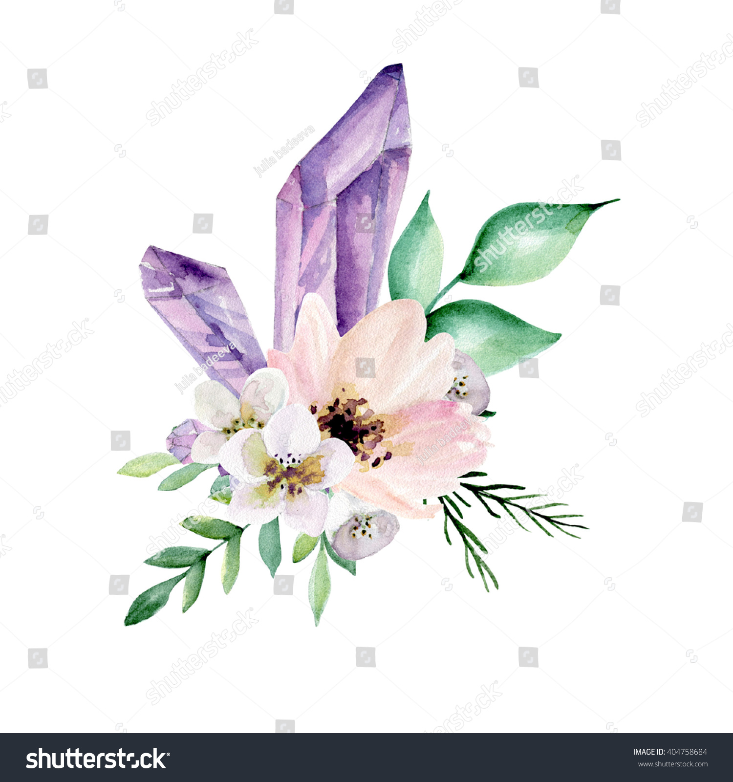 Alstroemeria Flower In English Bouquet Flowers Crystals Watercolor Hand Drawn Stock