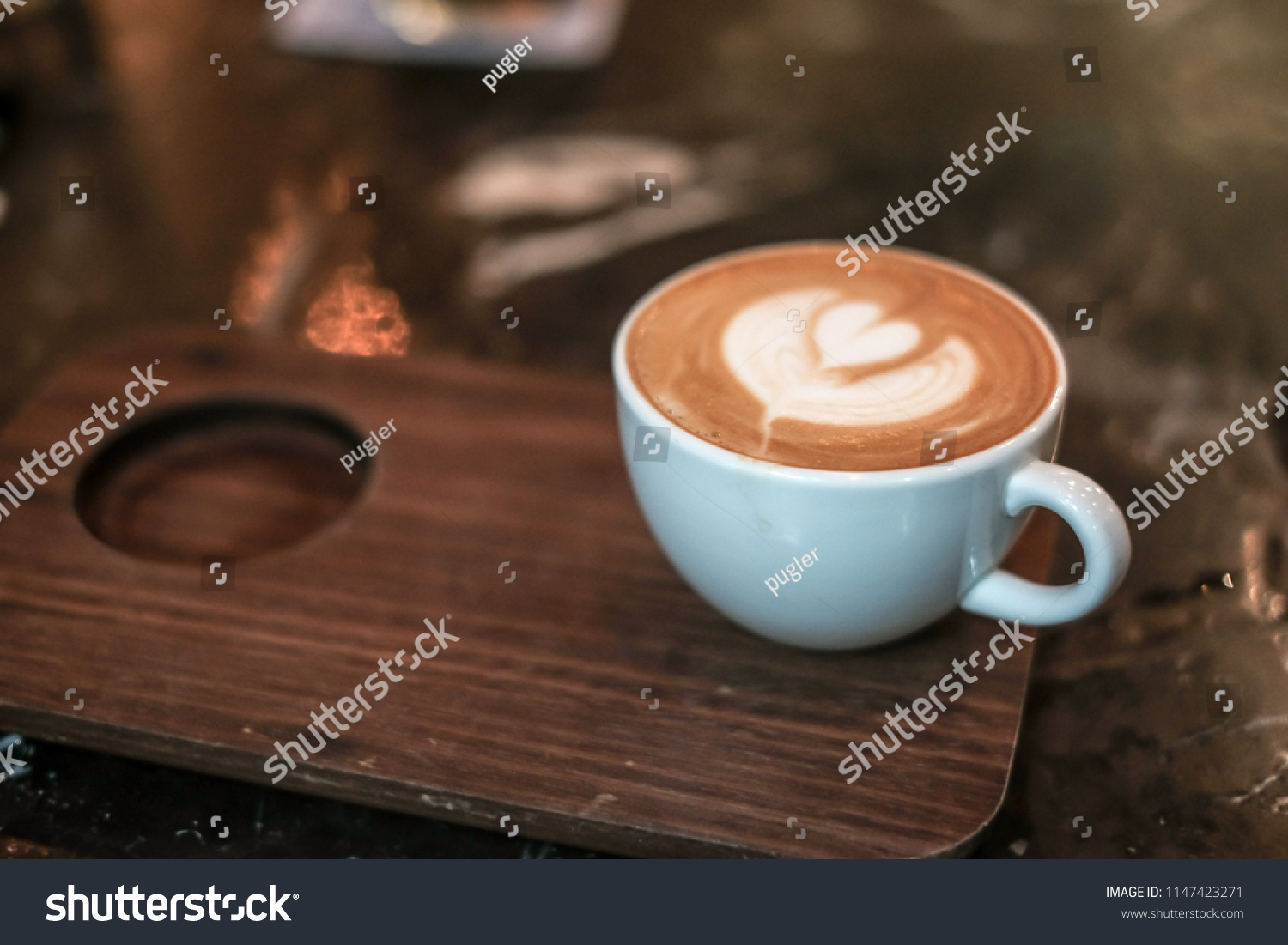 Caffe Latte Caffe Latte Art Vintage Latte Coffee Stock Photo Edit Now