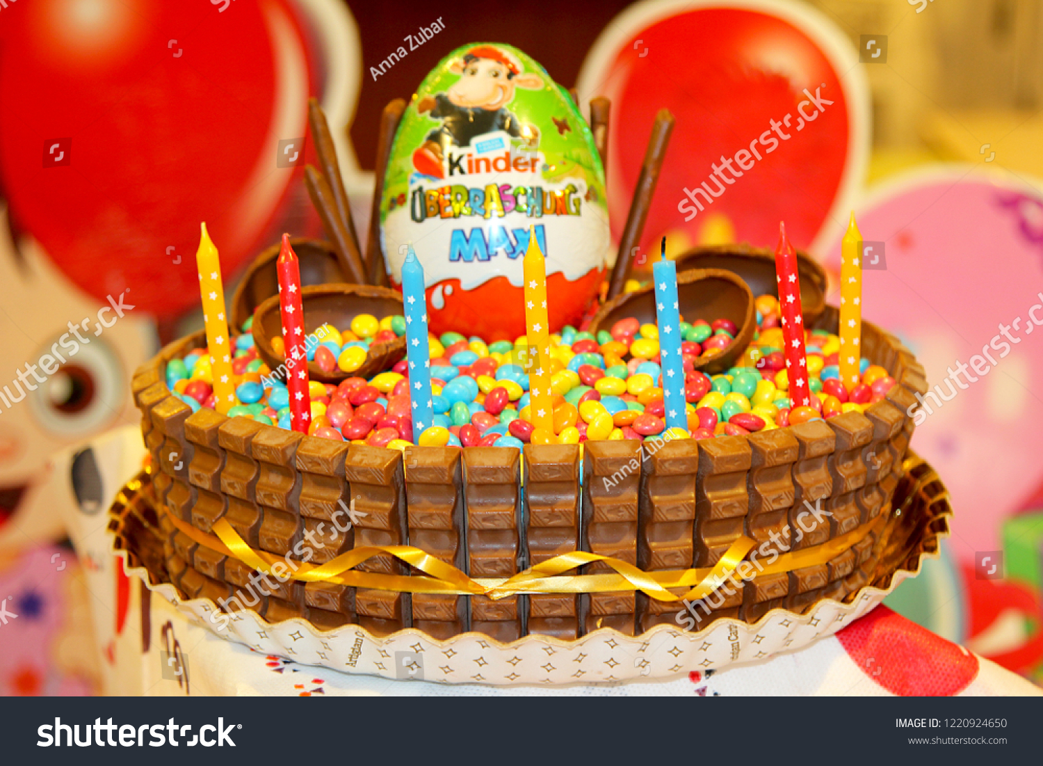 Kinderessen Party Cake Kinder Surprise Cake Sweets June Stock Photo Edit Now