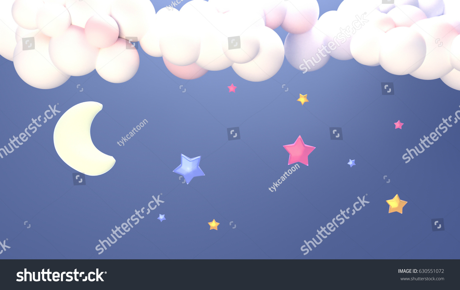 Stars Room Decor Cartoon Night Sky Clouds Moon Stars Stock Illustration Royalty