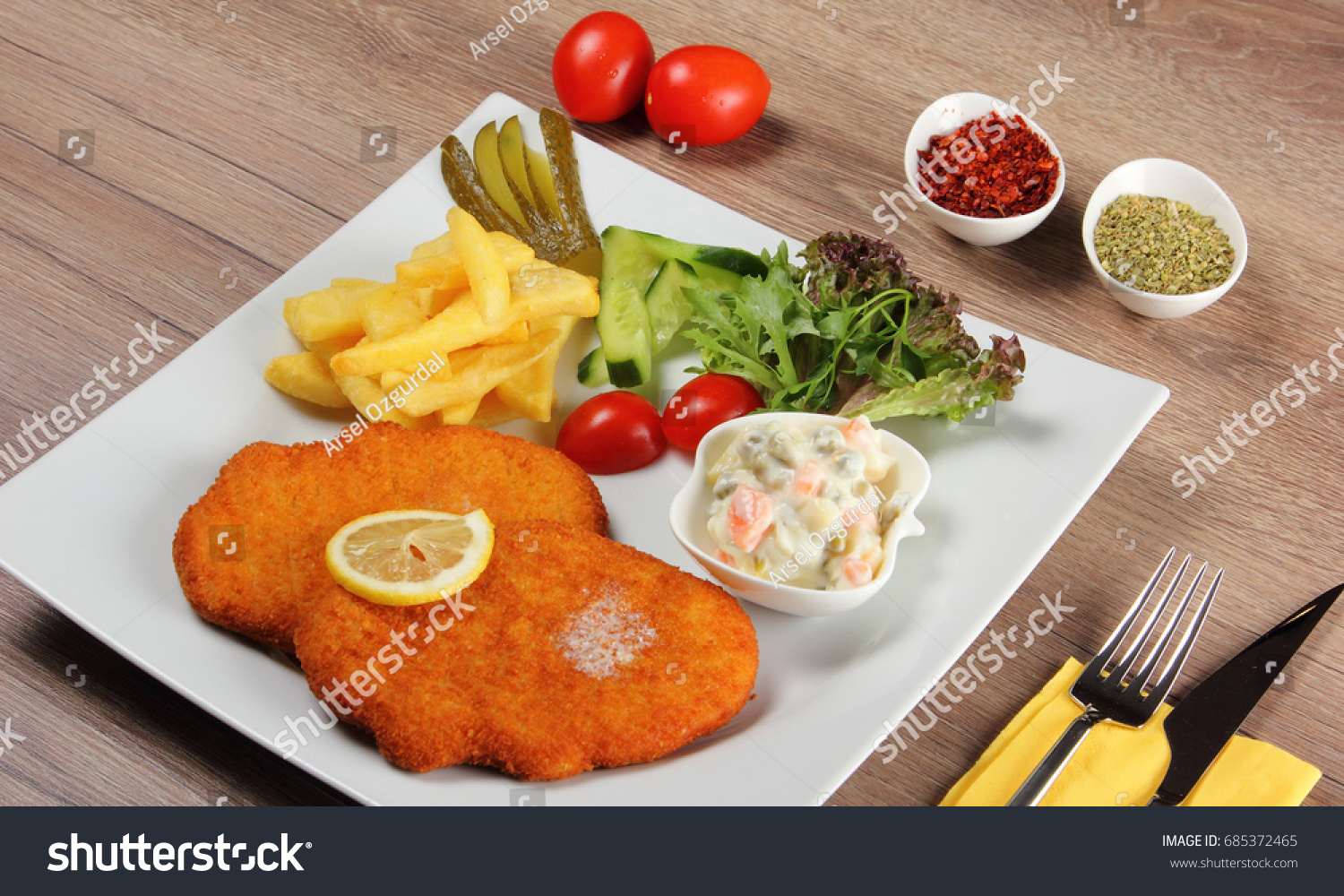 Schnitzel Restaurant Chicken Schnitzel Restaurant Menu Stock Photo Edit Now 685372465