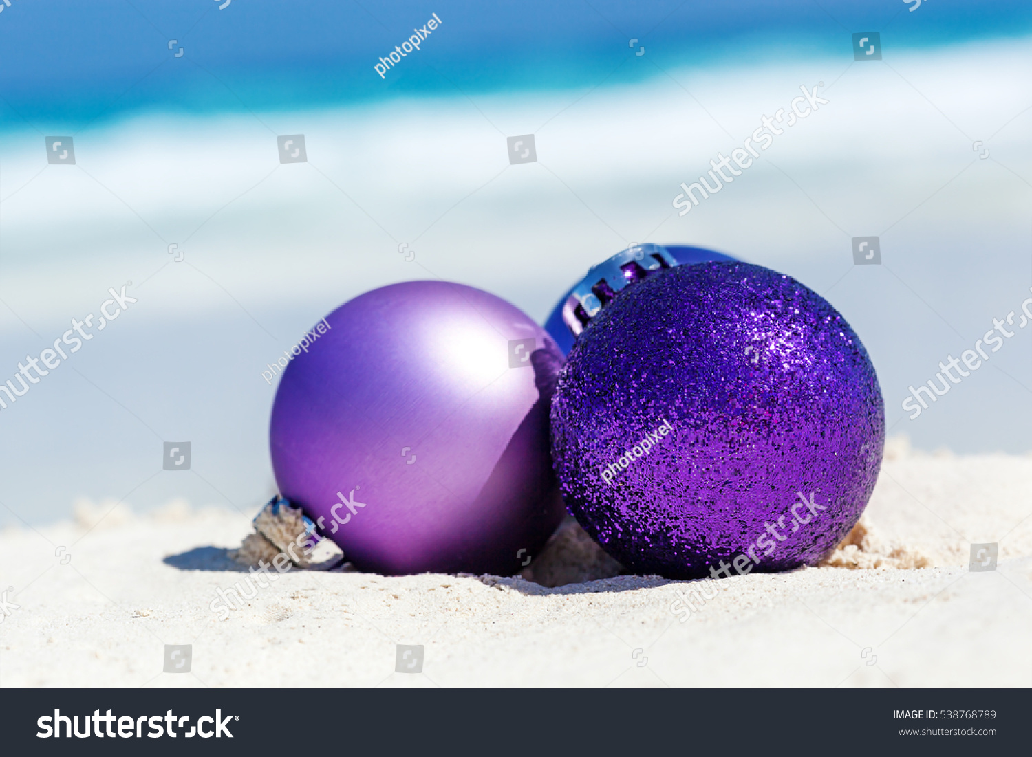 Pantone Christmas Ornaments Christmas Card Toy Balls On Sandy Stock Photo Edit Now 538768789