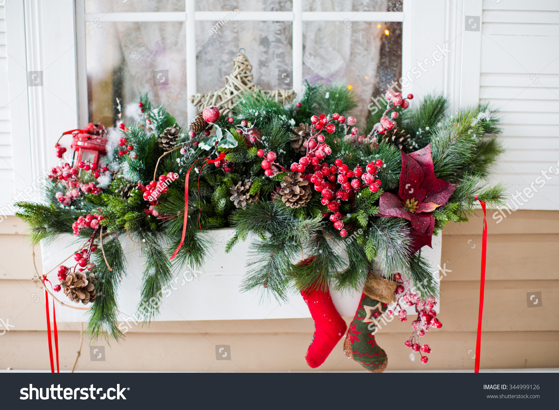 Christmas Decorations On Window Sill Stock Photo 344999126