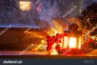 Christmas Window Lantern Decoration On Frozen Stock Photo ...