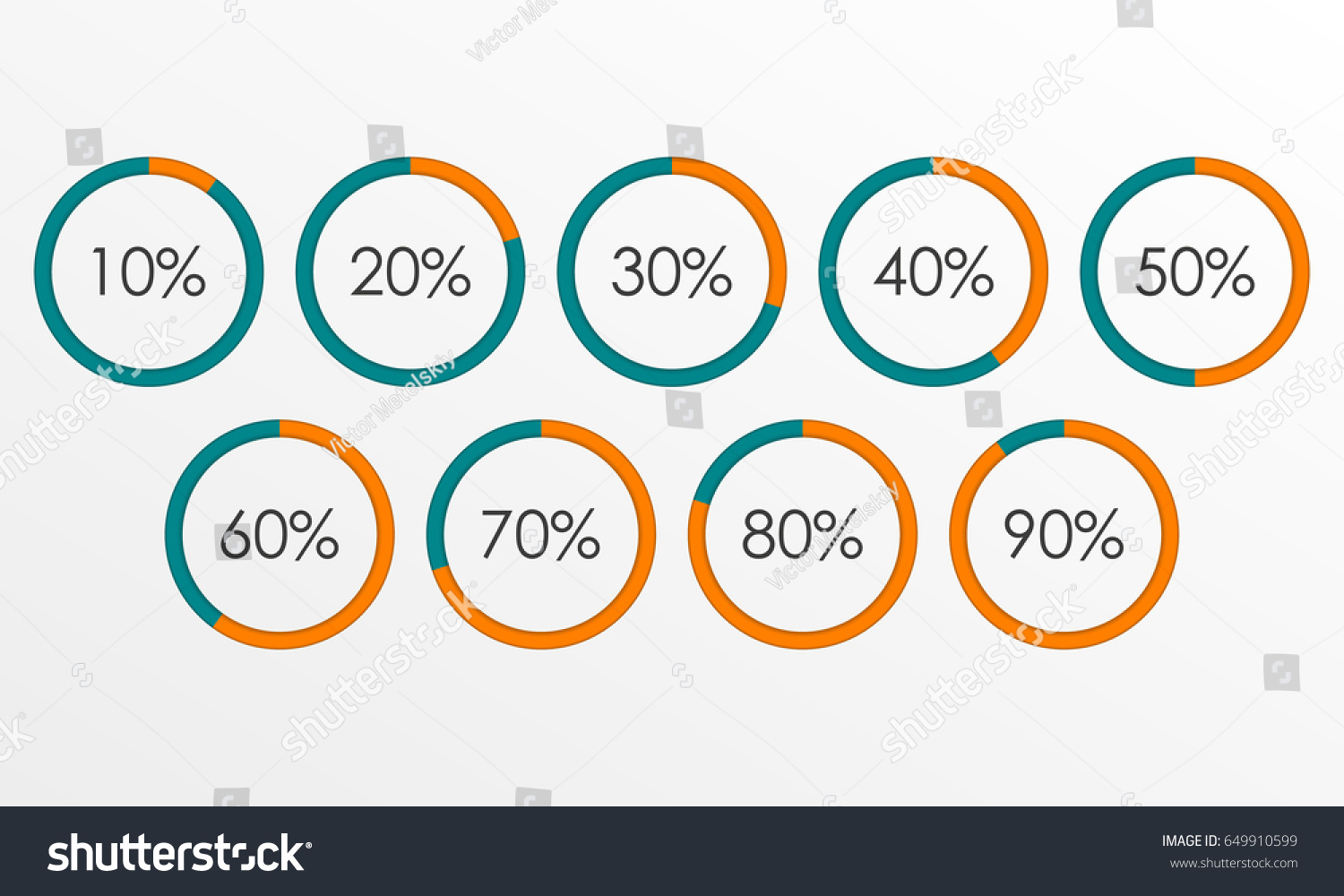 40*50 Circle Diagram Set Percentage Pie Chart Stock Illustration
