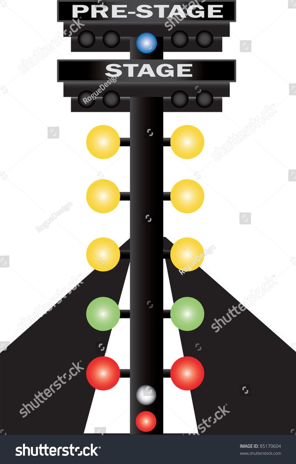 Car Racing Flag Wallpaper Clip Art Illustration Stand Lights Used Stock Illustration