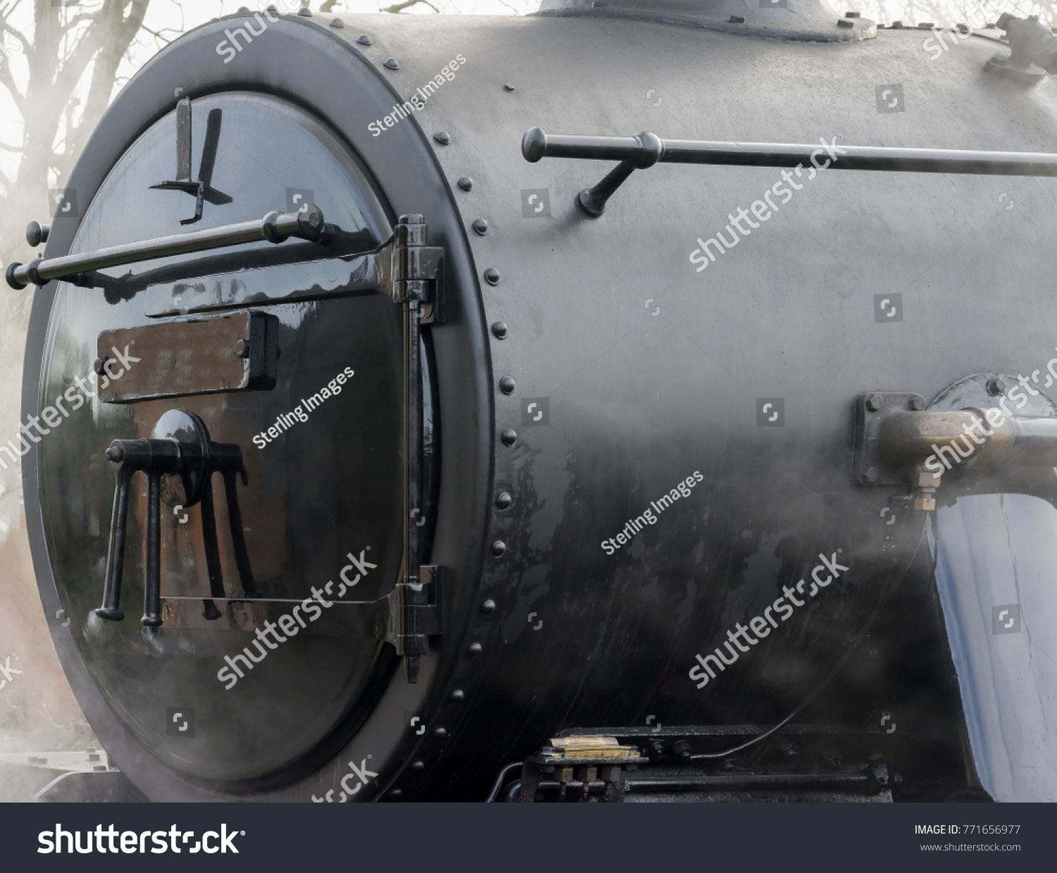 Closein Boiler Closeup Detail Steam Train Boiler Nose Stock Photo Edit Now