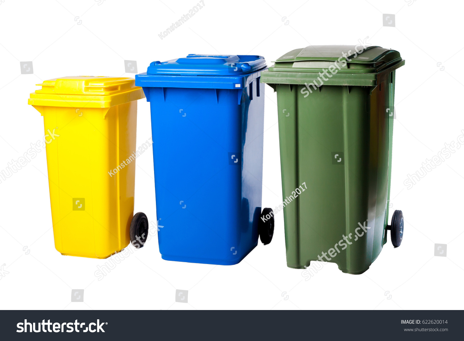 Colorful Garbage Cans Collage Plastic Colored Garbage Cans Stock Photo Edit Now