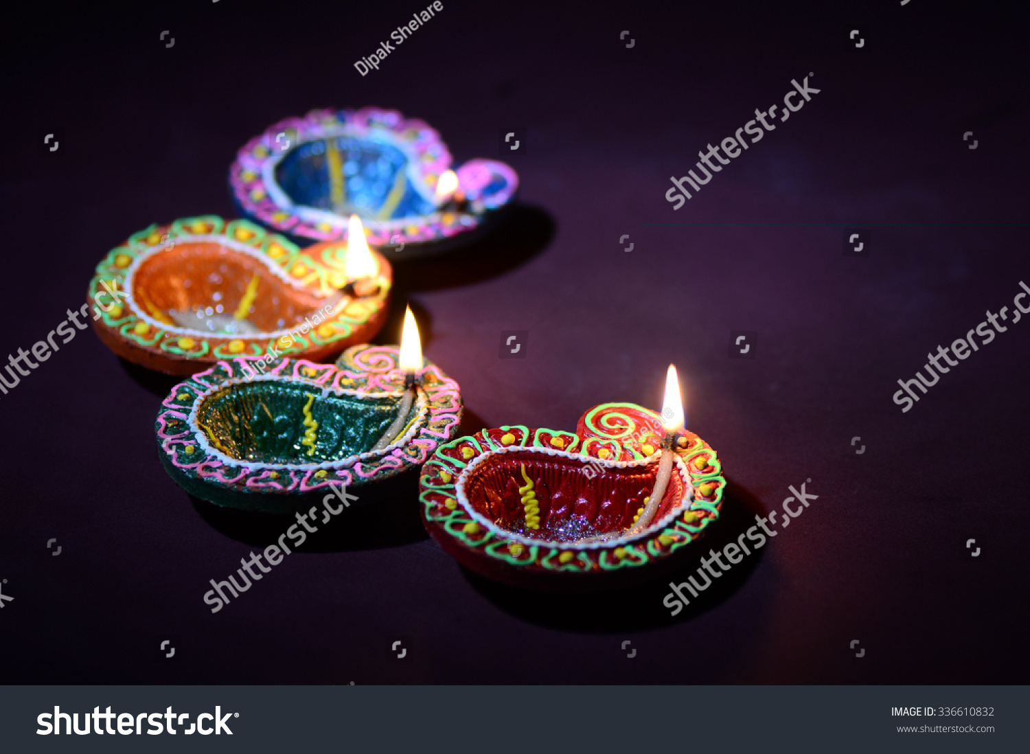 Earthen Lamp Diwali Colorful Clay Diya Lantern Lamps Lit Stock Photo 336610832