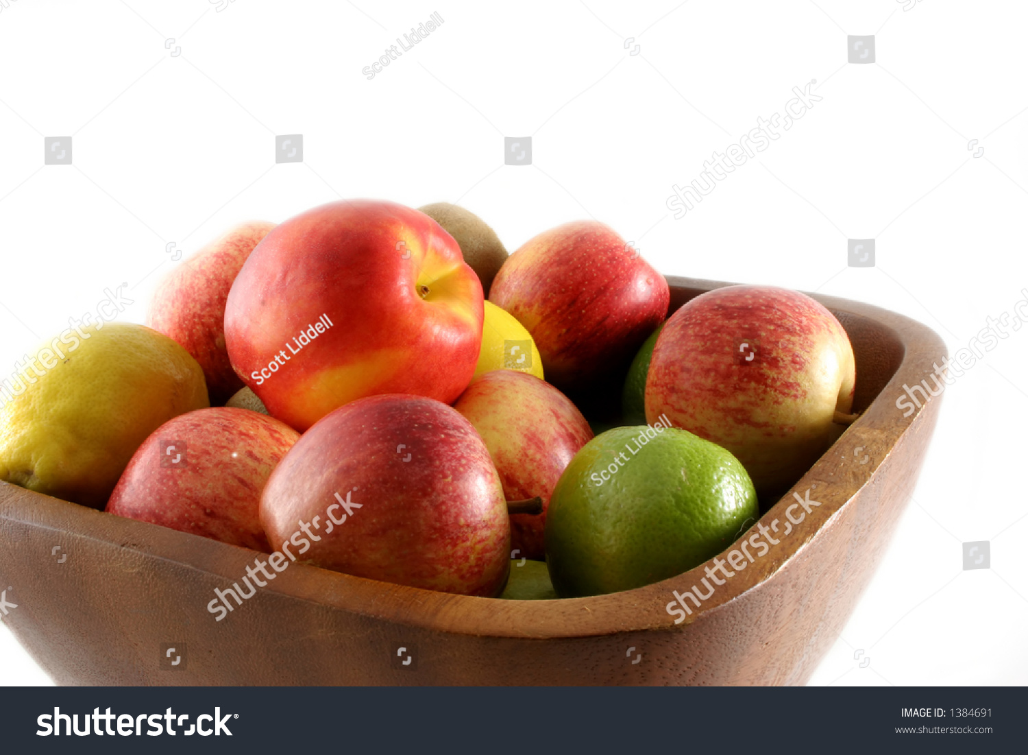 Colorful Fruit Bowl Colorful Display Of Fruit Isolated In A Wooden Bowl Stock
