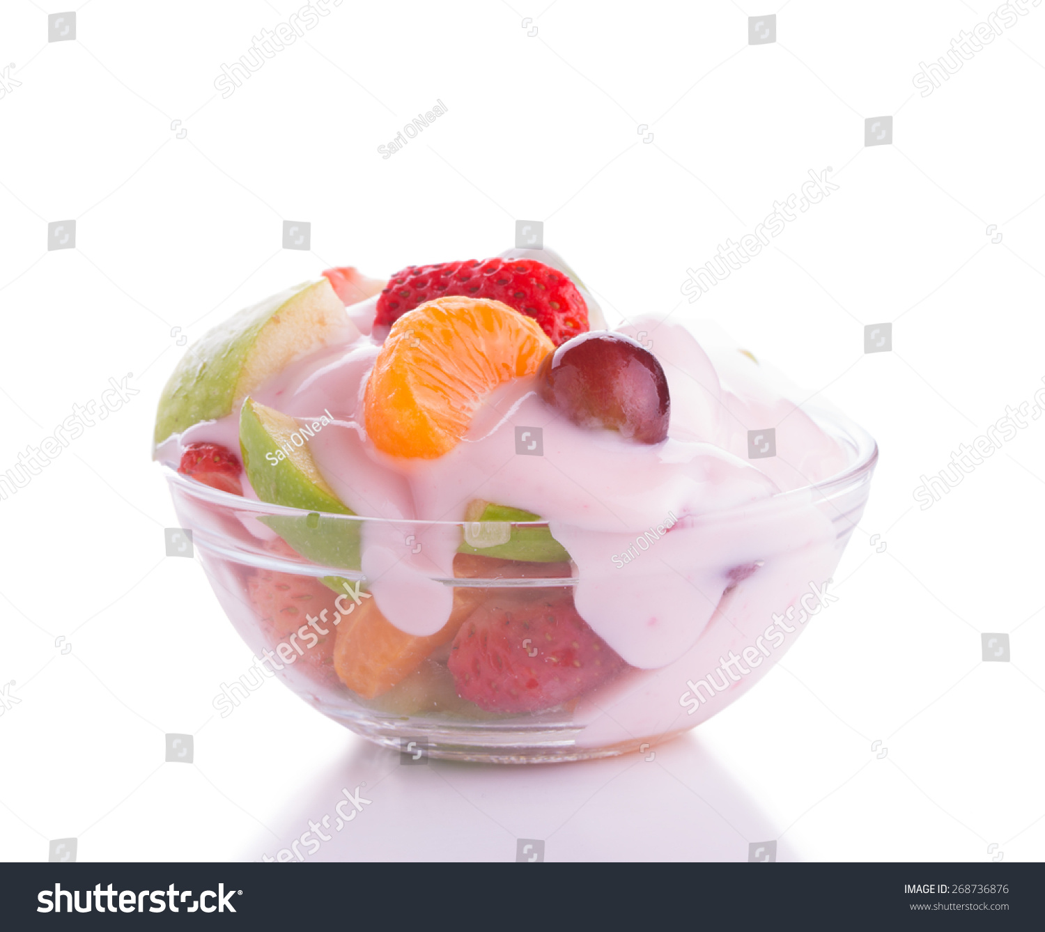 Colorful Fruit Bowl Colorful Fruit Salad In A Glass Bowl Topped With Pink