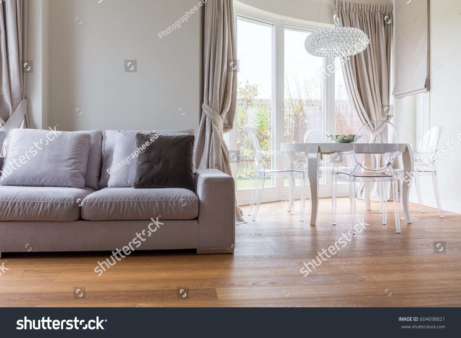 Grey Sofa In Lounge Comfortable Grey Sofa Spacious Modern Lounge Stock Photo Edit Now