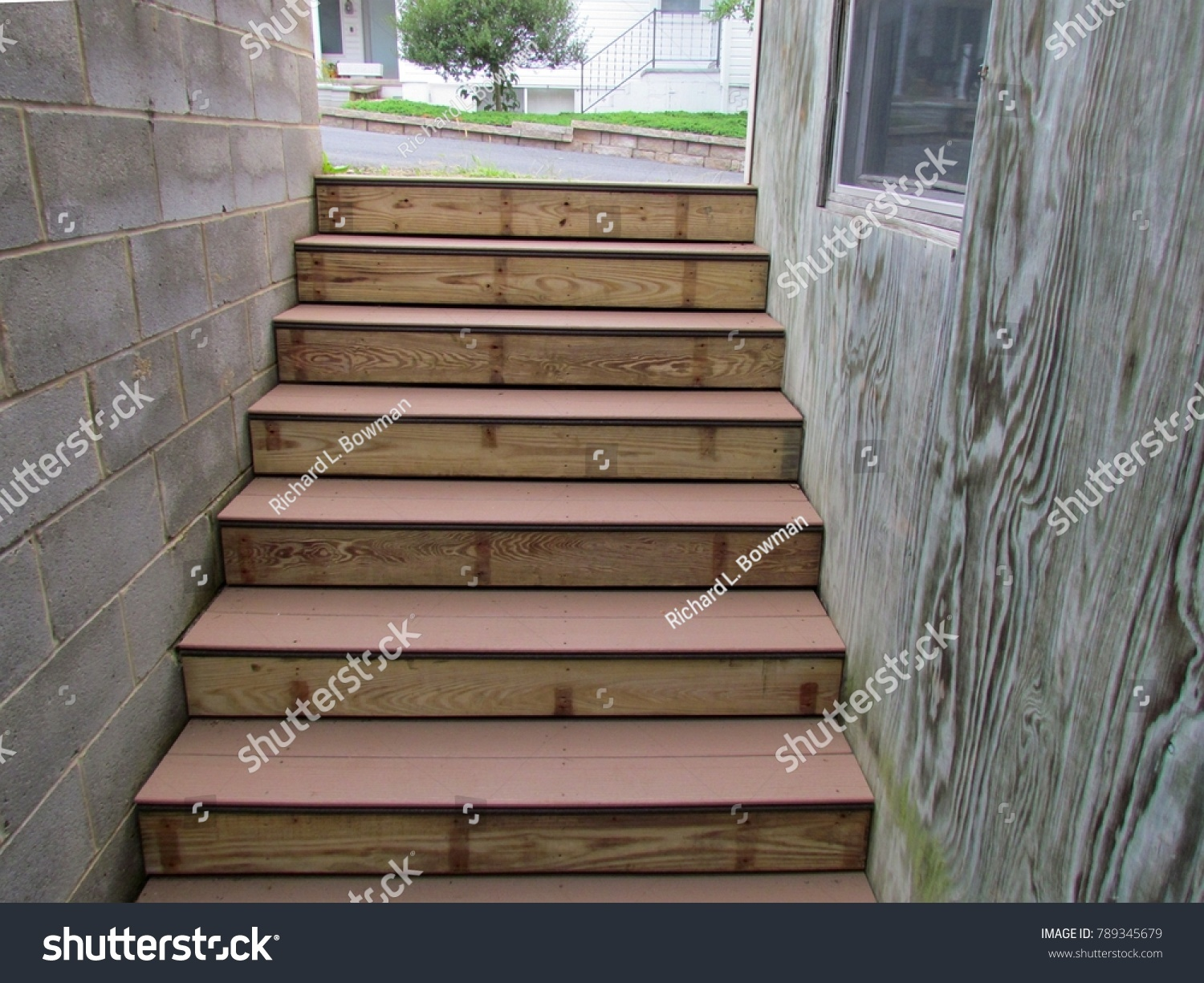 Outside Stairs Composite Treads On Outside Stairs Basement Stock Photo Edit Now